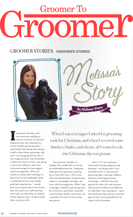 Groomer to Groomer Magazine Articles - Low Stress Drying ProceduresA Groomer's Guide to Target TrainingMelissa's StoryHosting Puppy Grooming WorkshopsAuthor of #GroomerStories