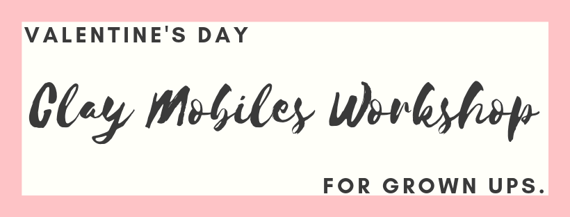 Join us on Valentine's Day to make your own clay mobile or wall hanging! Each participant will make multiple pieces, ready to be strung together into a fabulous ceramic mobile or wall hanging.