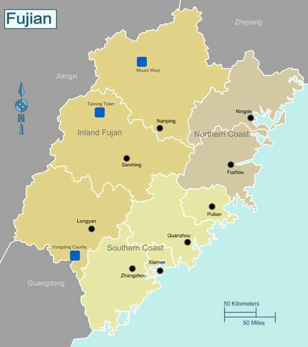 The Wuyi Mountains are located in the North of Fujian (see the upper blue square)