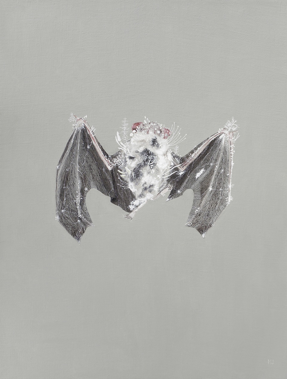"@Melinda Josie, 'Silver-Haired Bat', 2010; Oil on Linen, 14"" x 18"" framed"
