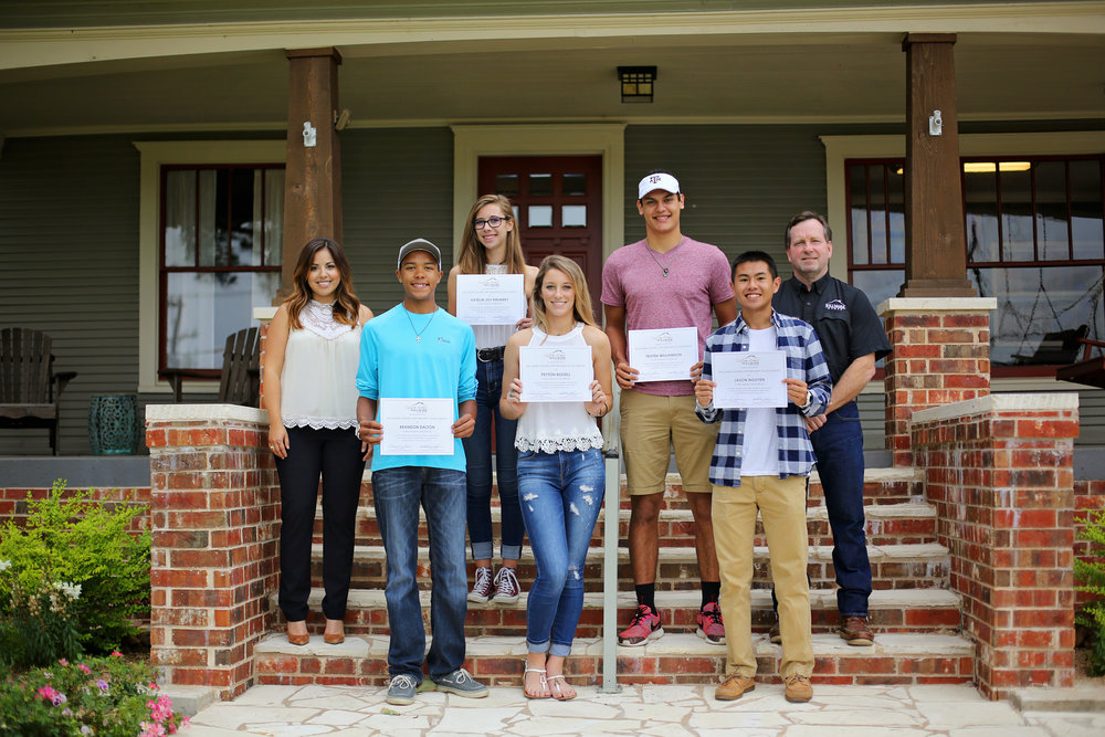 From left to right:  Willmark Homes Sales & Marketing Director  -  Sabrina Sandoval,   Scholarship recipients -   Brandon Dalton, Katelin Krumrey, Peyton Russell, Tristen Williamson, & Jason Nguyen ,  Willmark Homes Co-Founder  -  John Marek