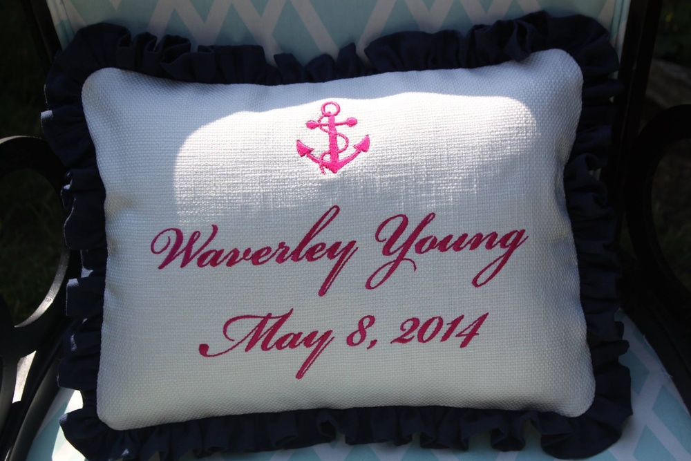 Custom Baby Pillow  12 X16quot With Ruffle  Annapolis