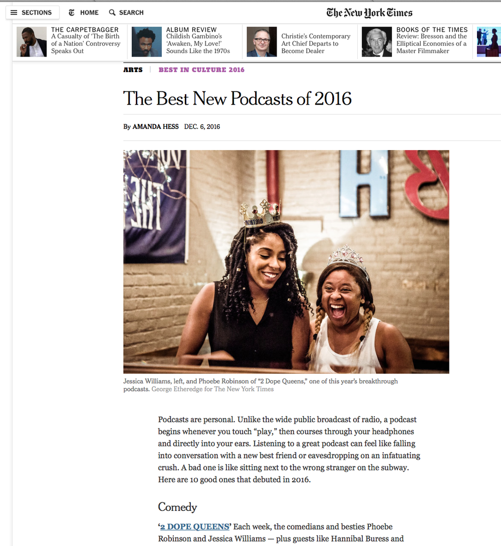 Some love for our WNYC podcast, 2 Dope Queens, from the New York Times. Love these people.