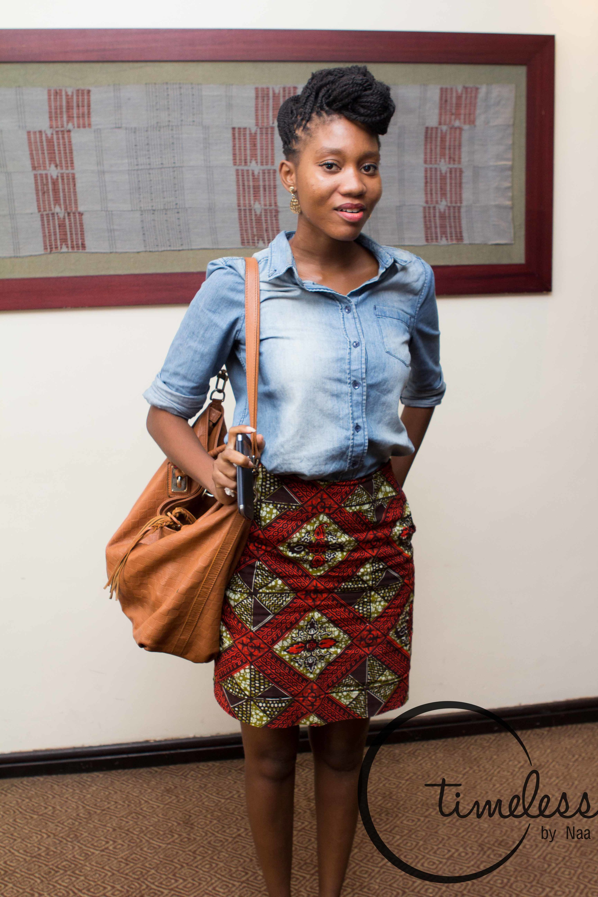 Jeans shirt with bold patterned African print skirt