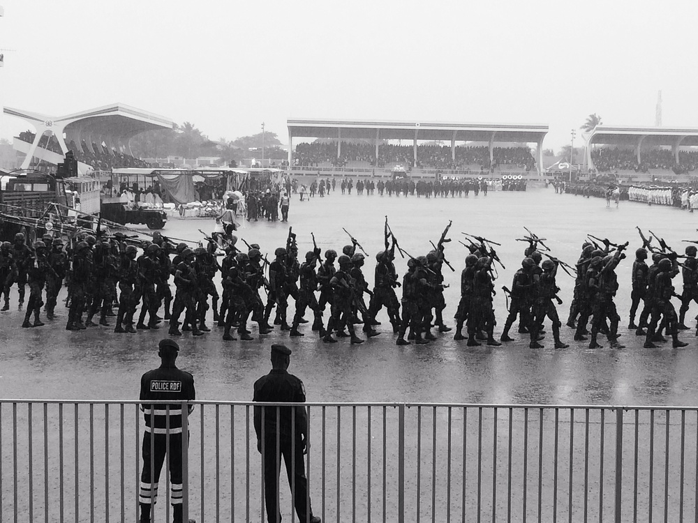 Rain-soaked soldiers at the parade