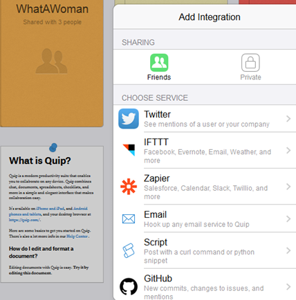 Screen grab of Integrations on Quip