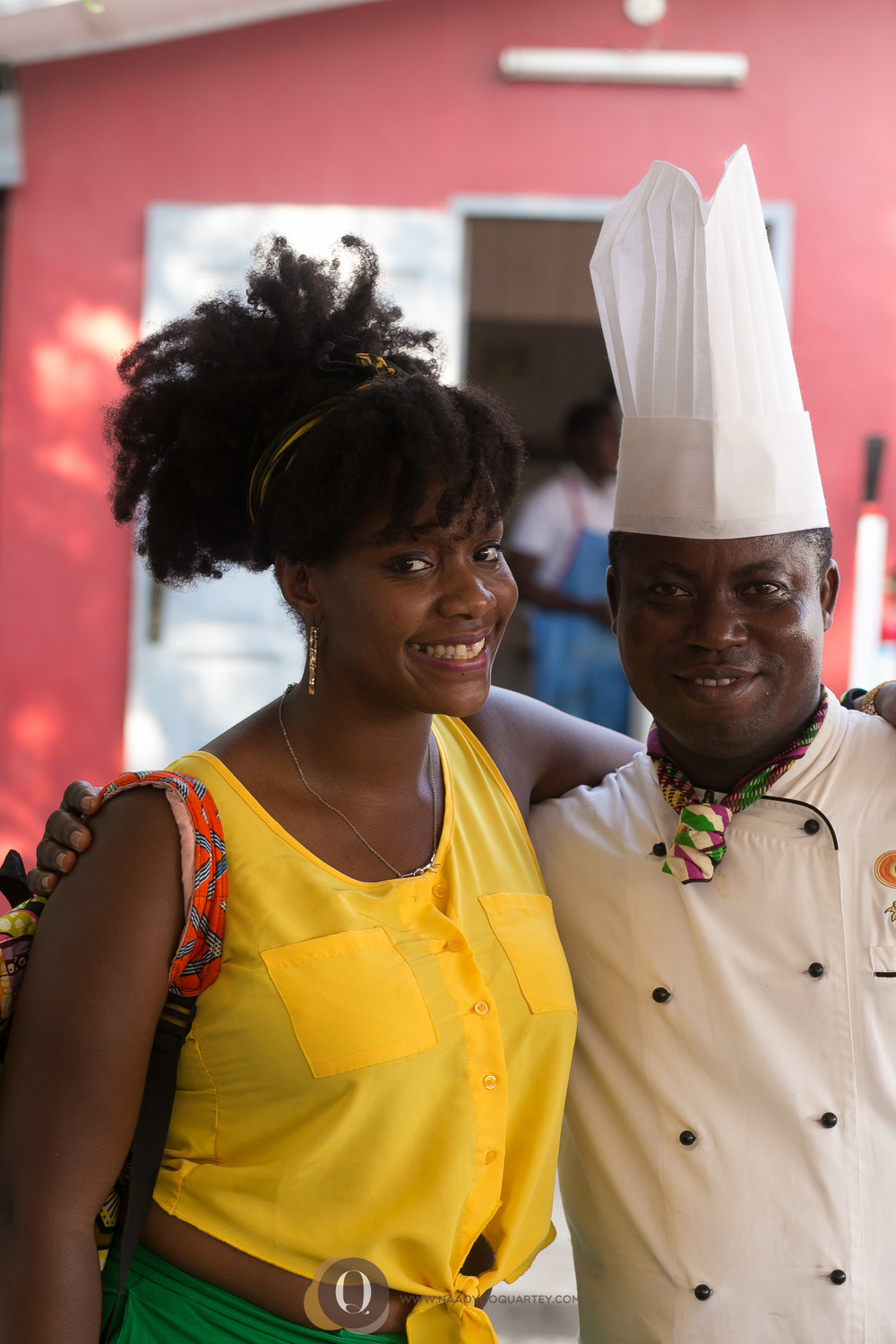Airport View Hotel chef with a Ghanaian food enthusiast.