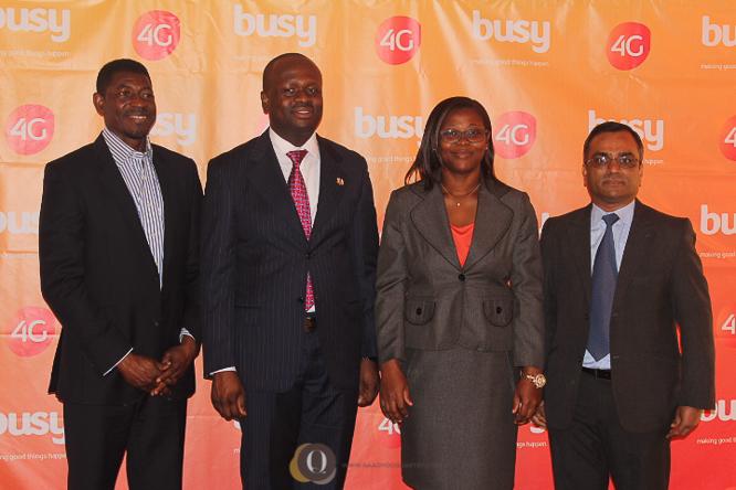 From the left: Mr Paul Datsa Director of Regulatory & Admin (NCA), Hon. Dr Edward Boamah, Mrs Linda Narh Head of Marketing at Busy, Mr Praveen Sadalage CEO Busy.
