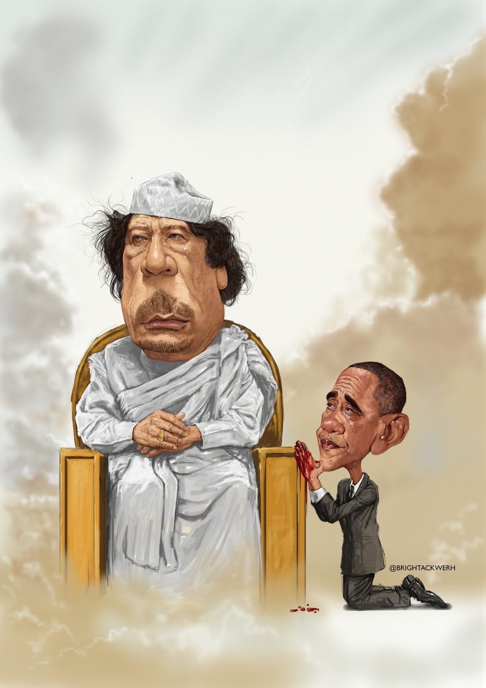 caricature of Obama & Gaddafi