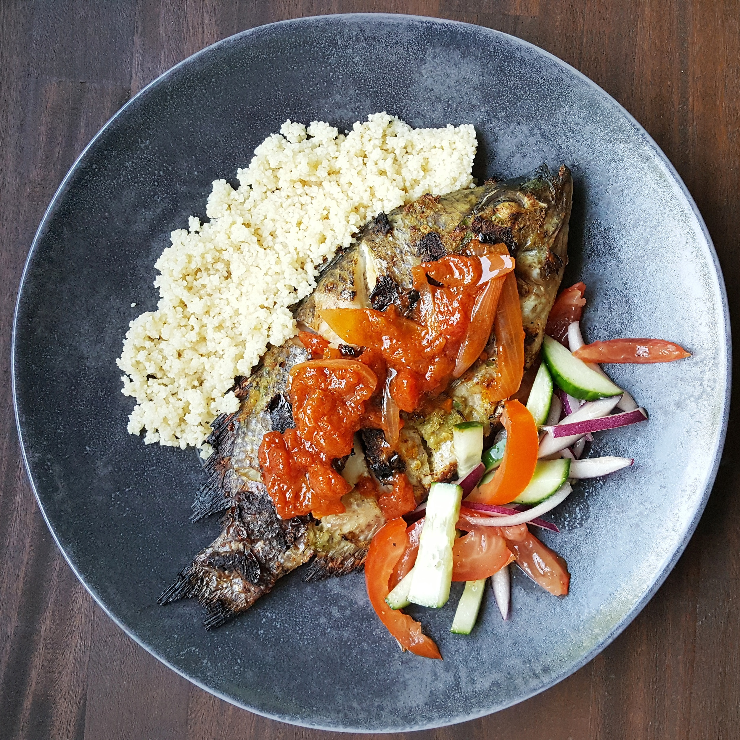 Ivorian Couscous and Salad with Grilled Tilapia and Spicy ...