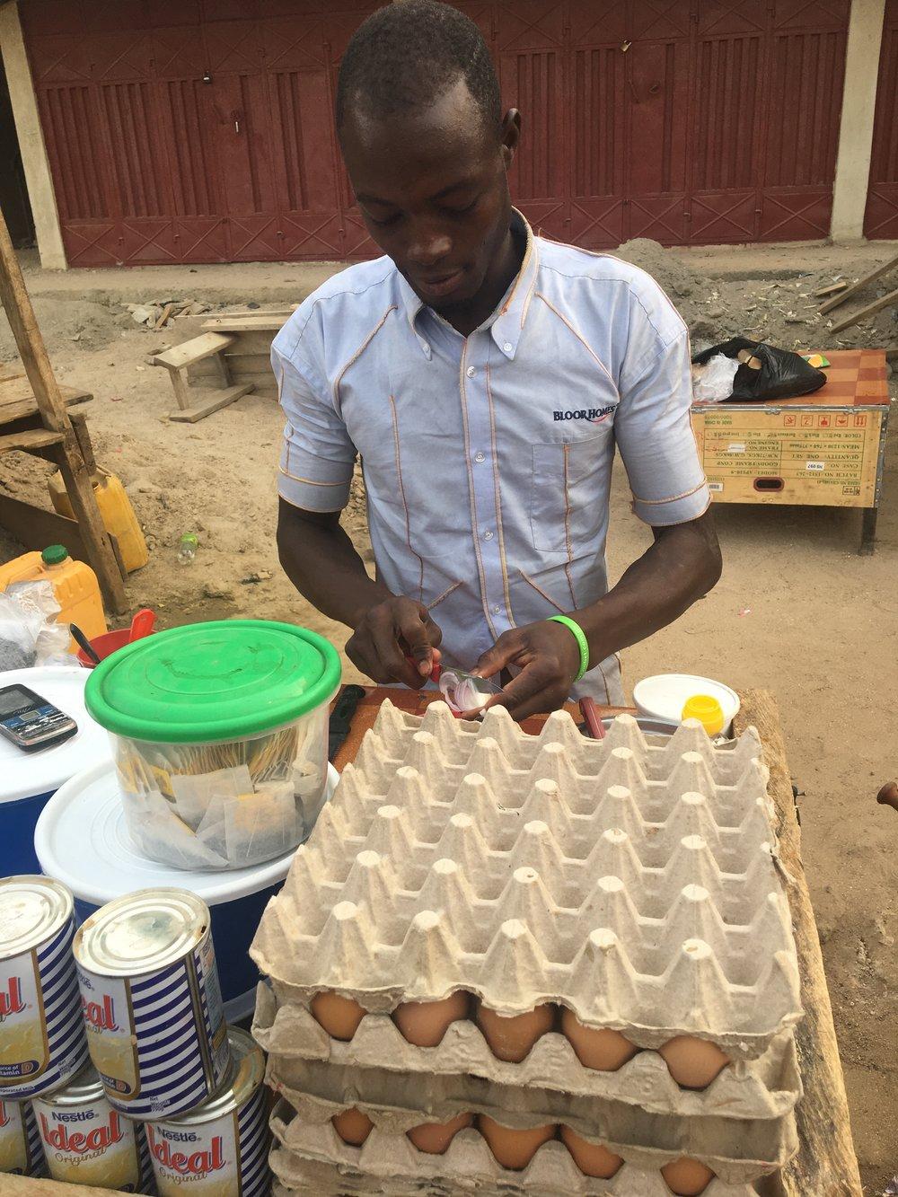 Tea & egg sandwich seller in Navrongo