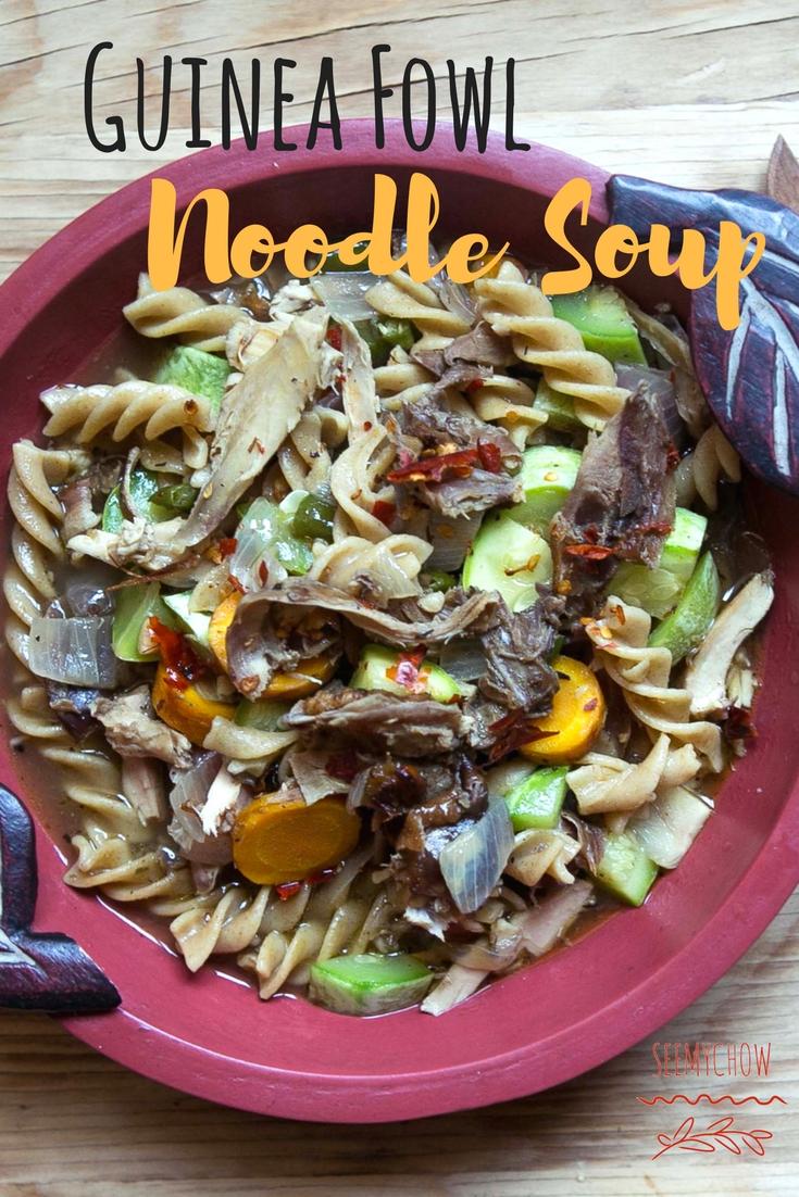 Guinea fowl noodle soup
