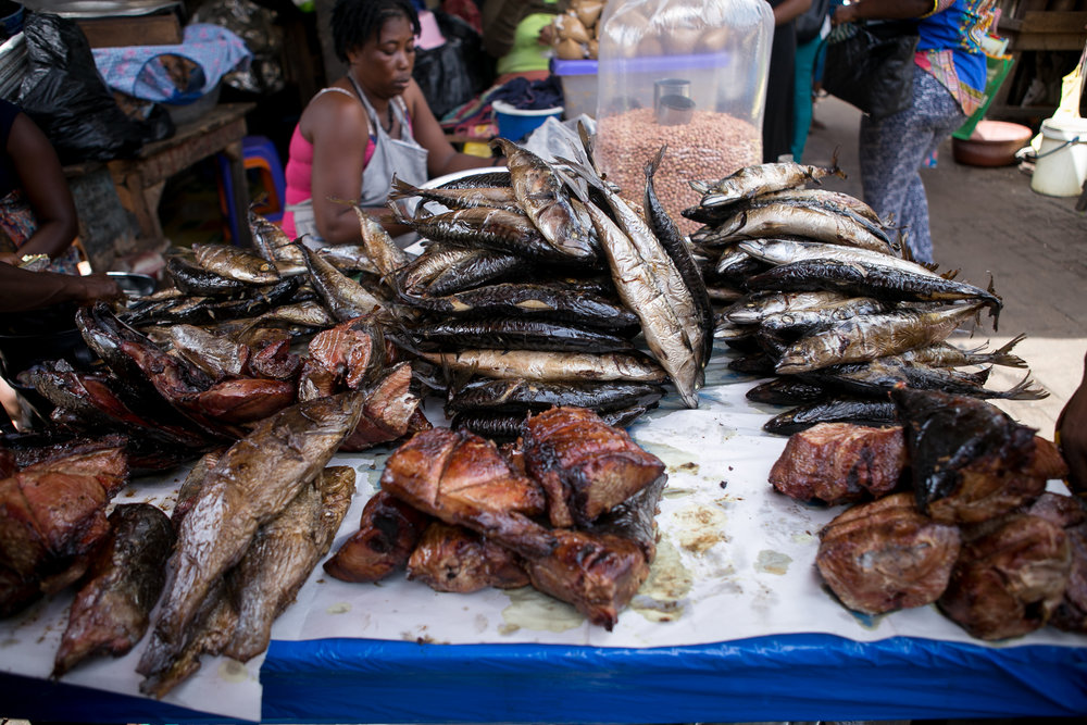smoked fish on display
