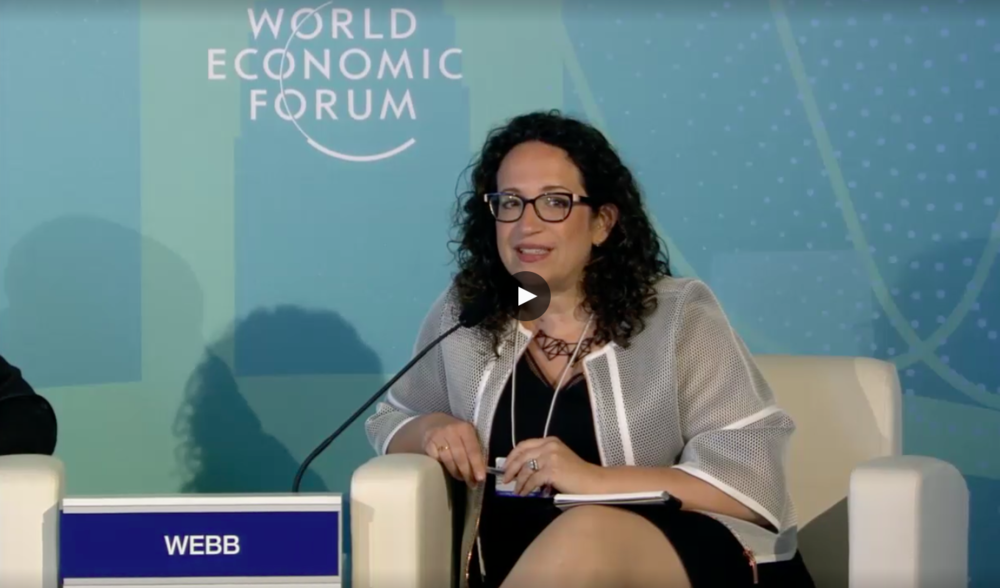 Amy Webb speaking at the World Economic Forum