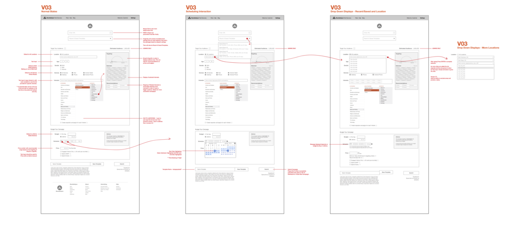 Wireframes for Create Campaign. This led to the next two iterations.