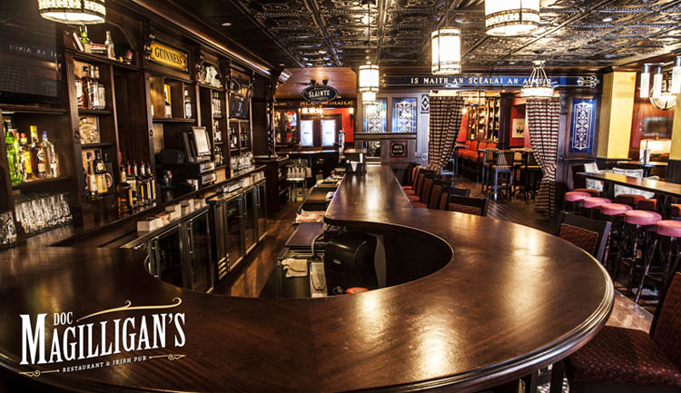 Pull up a seat at the bar and enjoy the game at Doc Magilligan's.