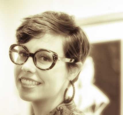 Alicia Flannery art w glasses at WTAG 50mm horiz-5598 SEP BW sepia crop.jpg
