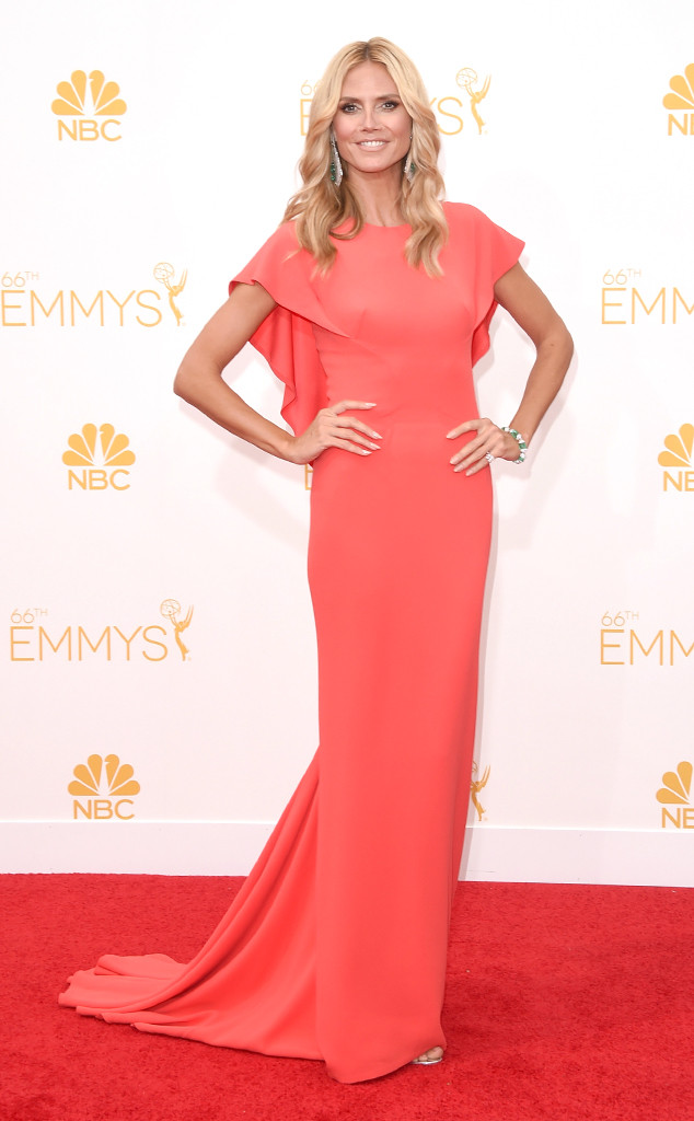 Heidi Klum looks amazing in this Zac Posen custom coral dress.