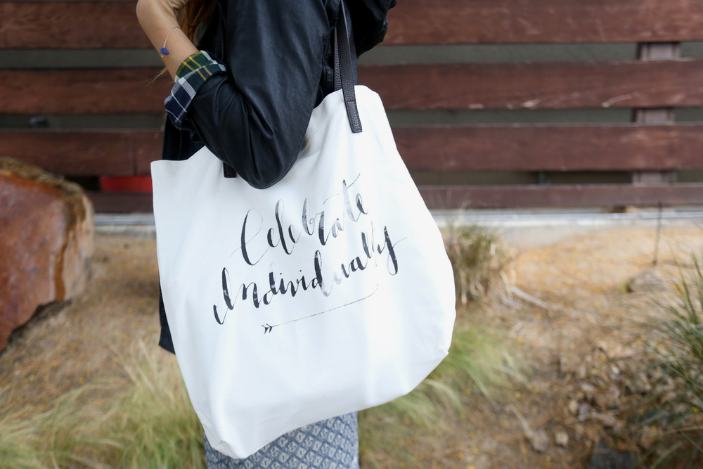 Celebrate Individuality tote available in  Shop