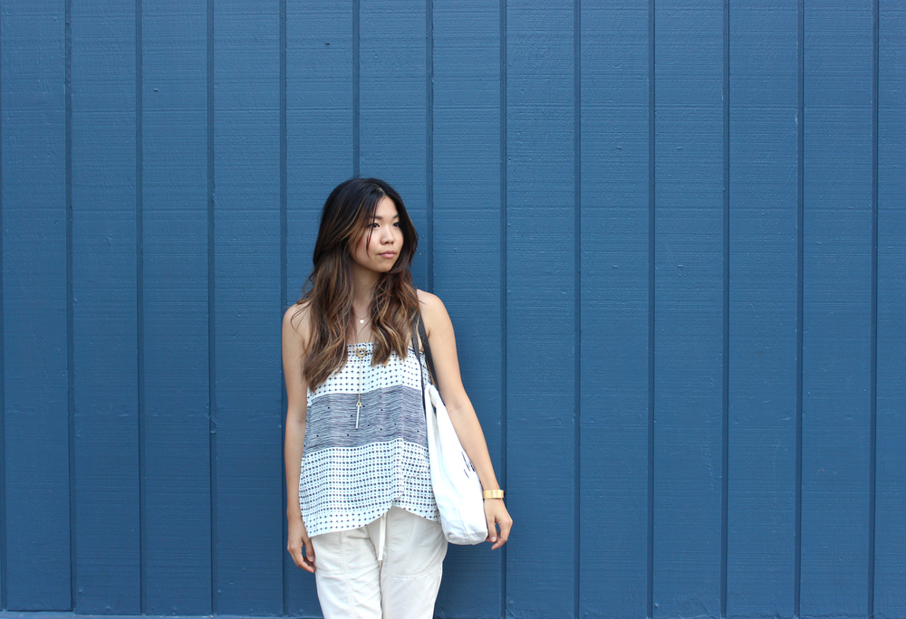 Found this blue wall near Ace that matched my outfit perfectly! Skirt (worn as top), pants, jewelry is from  Madewell  and the Tote is available in  shop