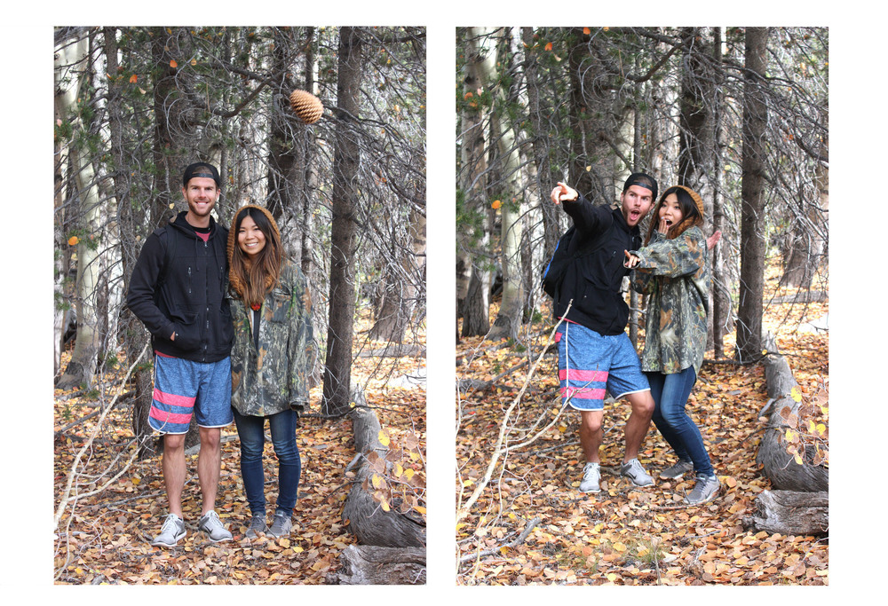 Take One: Eric tossed a pinecone to troll our photo // Take Two: This is our I-Saw-A-Bear face (we're weirdos, I know)