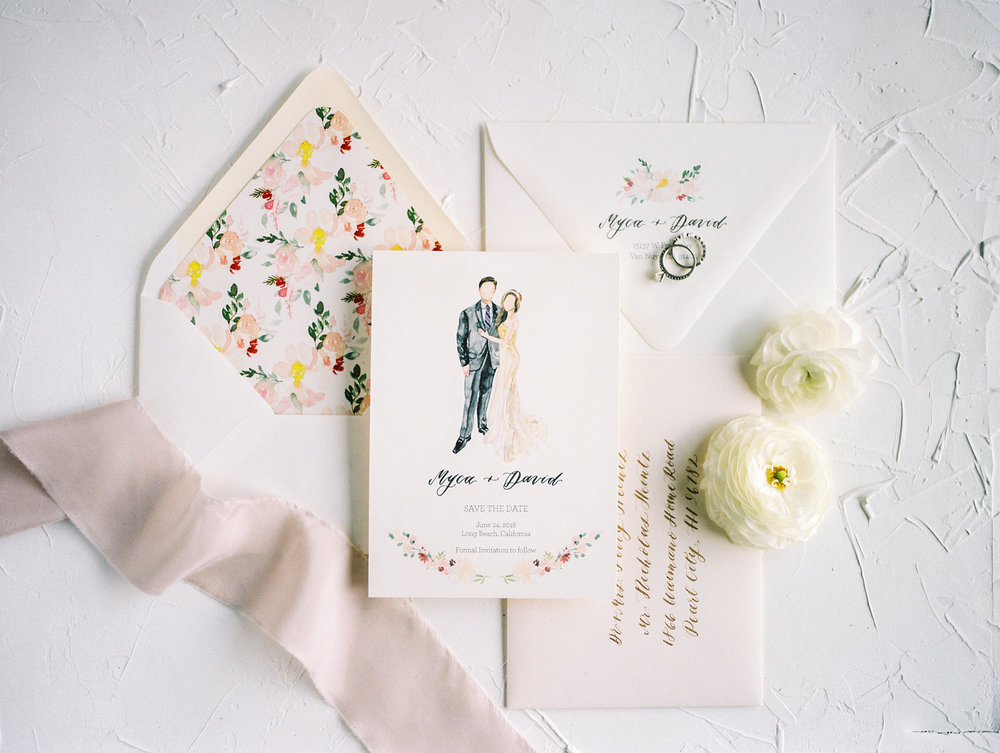 save the date flat lay