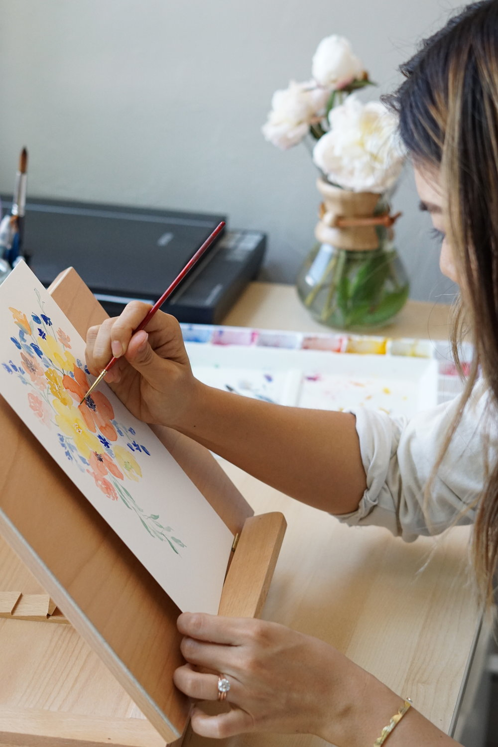 floral watercolor artist painting studio
