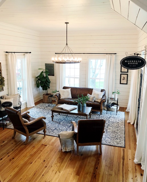 magnolia house shiplap hardwood floors