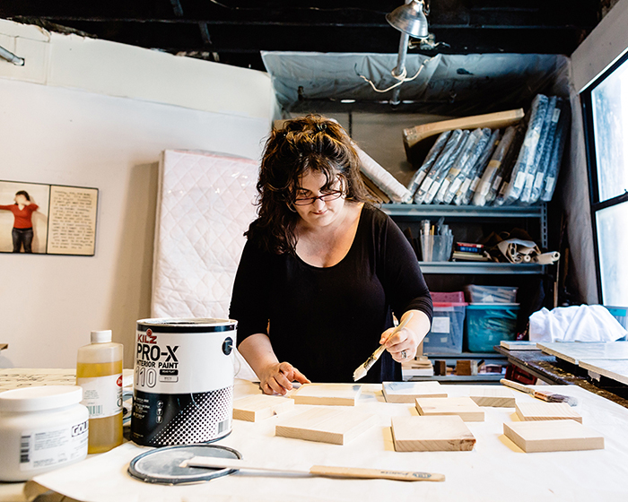 Jessica Burko working in her South End studio