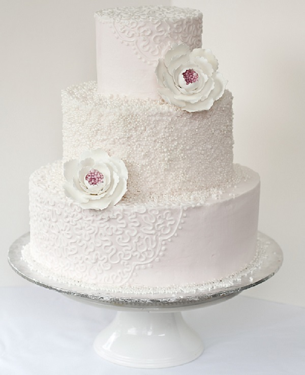 Corelli Lace and Sugar Pearl Wedding Cake