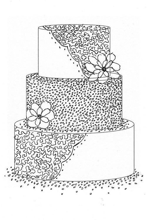 Correlli Lace and Sugar Pearls Wedding Cake Sketch