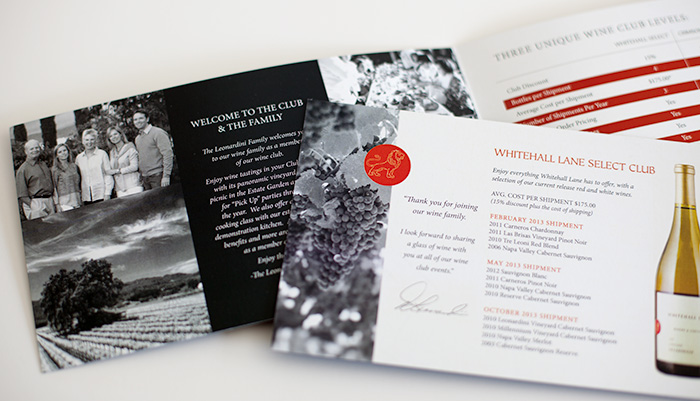 Whitehall Lane Wine Club Brochure