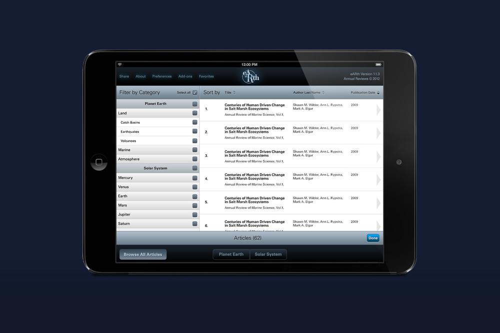 eARth iPad App