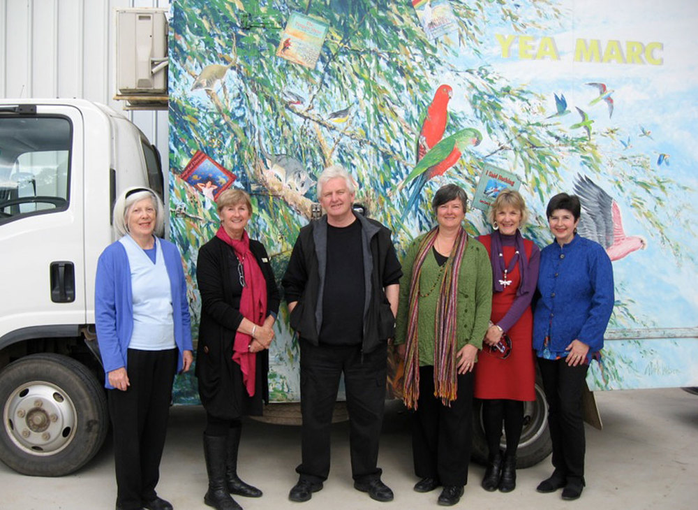 Recent Lit Festival with Libby & her Yea MARC van From L: Diana Lawrenson, Libby Ahern, Mark Wilson, Claire Saxby, Corinne King and Marjory Gardner (thanks Claire for photo)