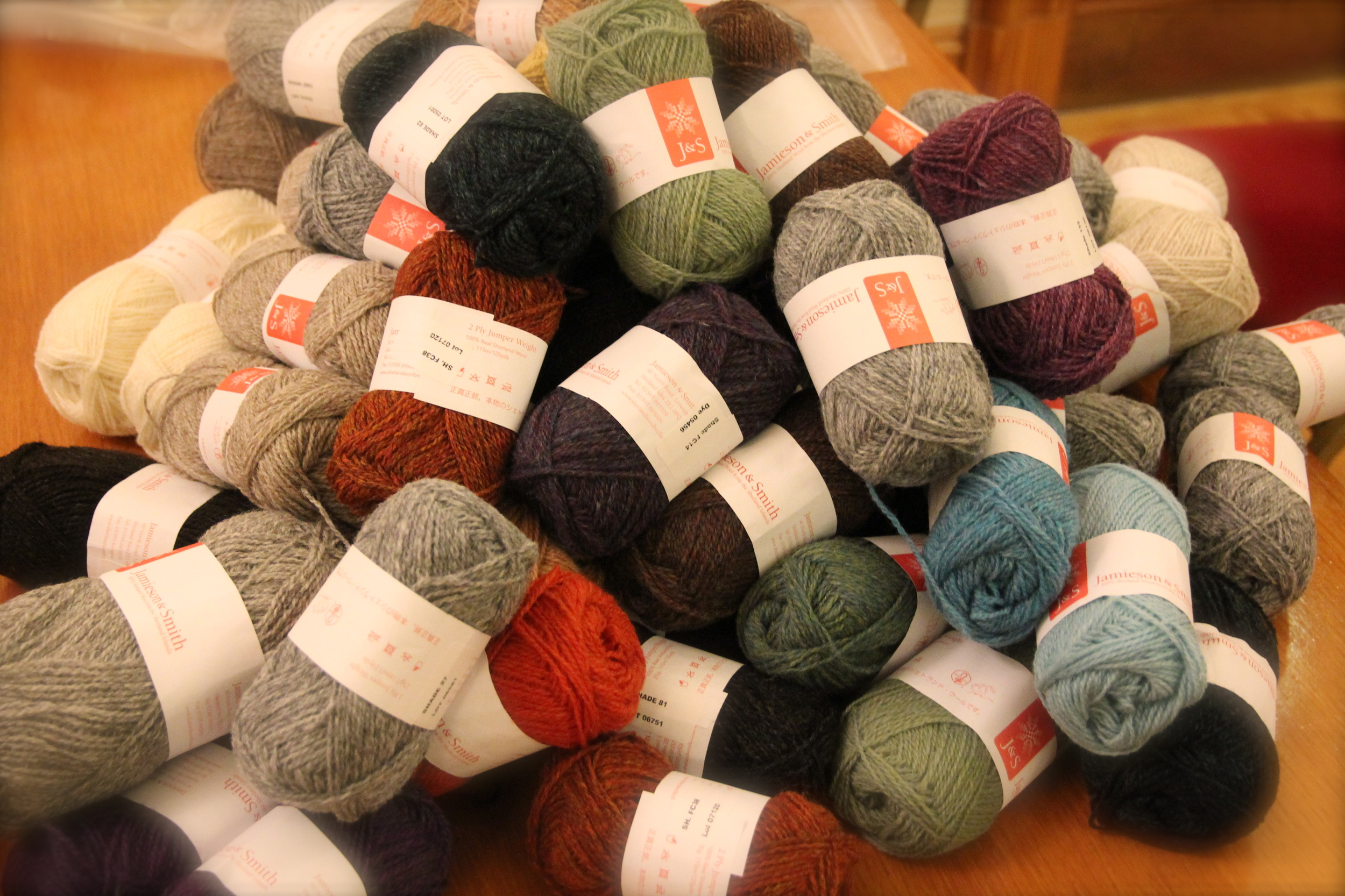 Pile of Glory:  Jamieson & Smith 2 ply Jumper Weight & Shetland Supreme....mmm