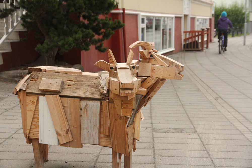 Wooden Sheep in Akureyri