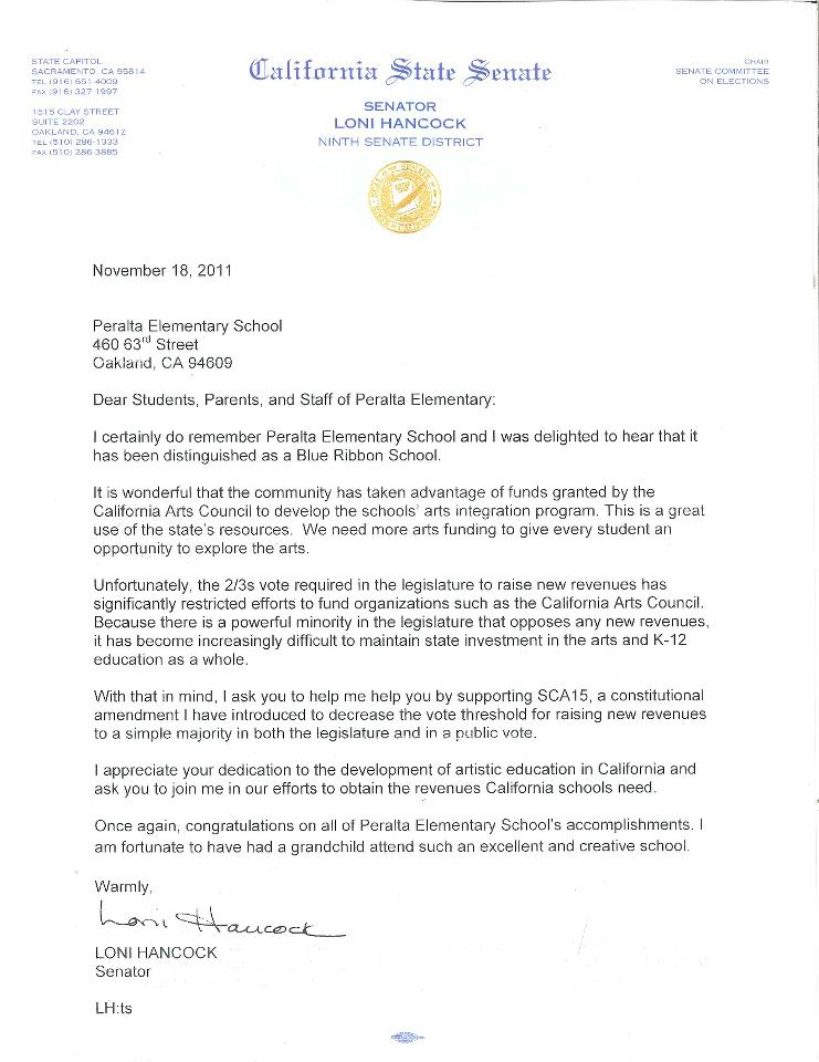 Letter from state senator loni hancock peralta elementary spiritdancerdesigns Image collections