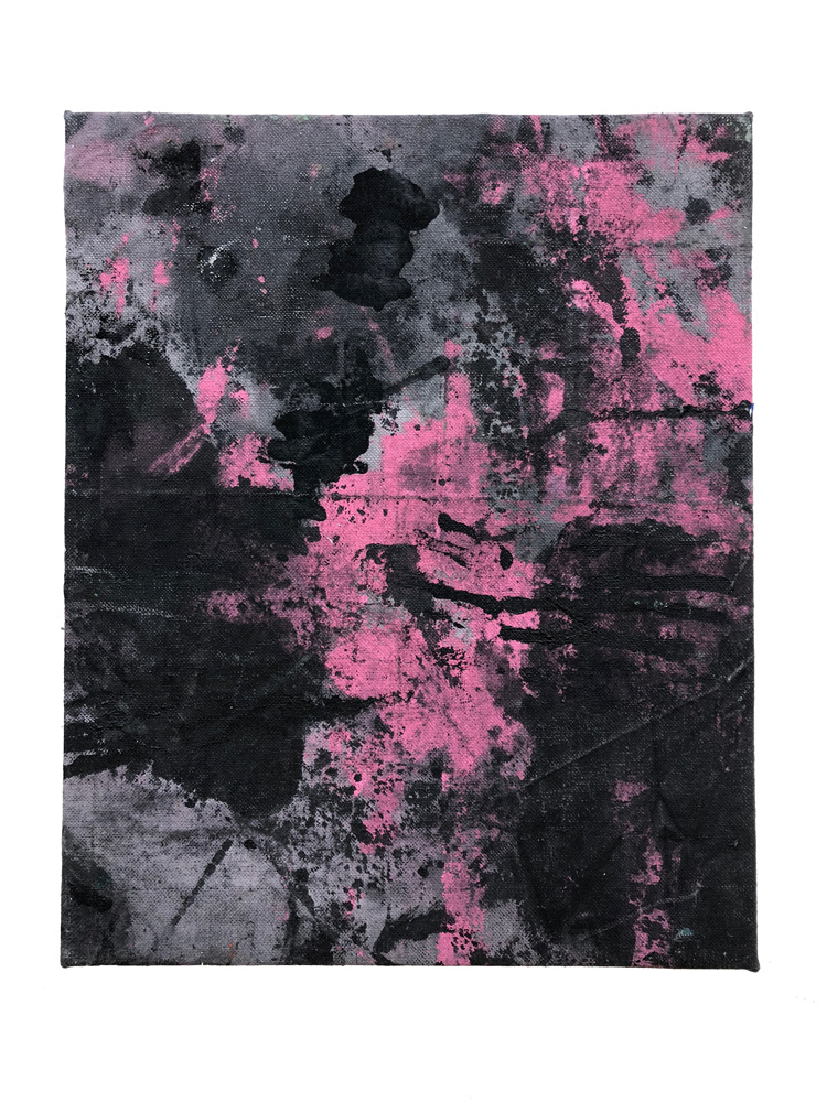 fabric dye, acrylic and enamel on canvas 13x16 inches 2018