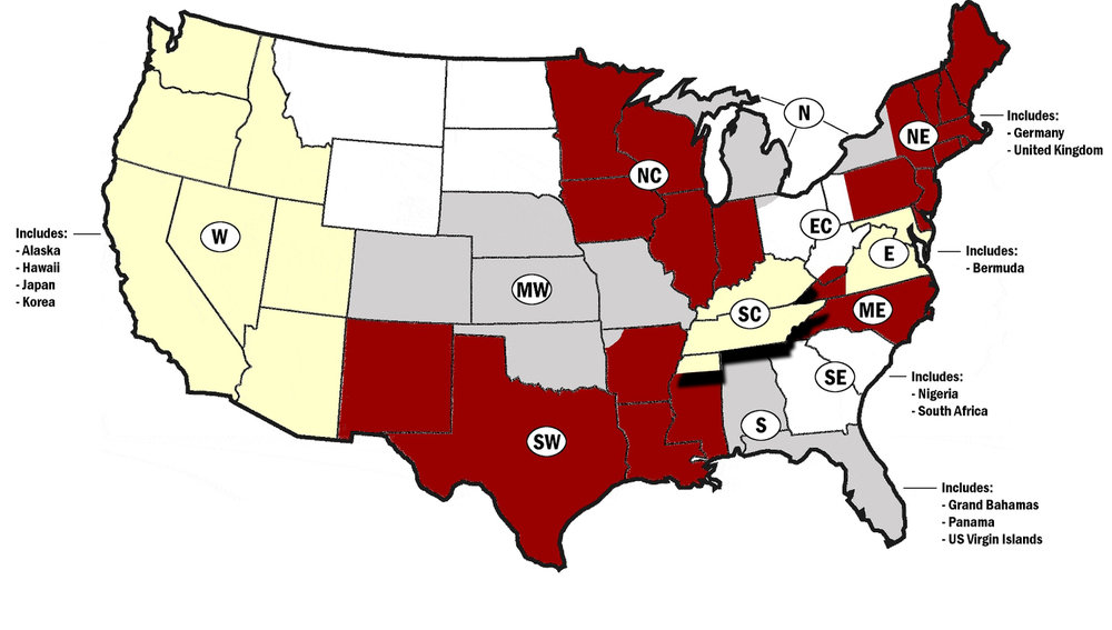 "In 1921, the Fraternity was divided into districts as a result of proposed legislation by George F. David II, the third Grand Polemarch. David was first Grand Polemarch who had not been nurtured by the Alpha Chapter under the influence of the Founders, proposed dividing the Fraternity into supervisory districts. The idea originated with his father who was a Presiding Elder of the A.M.E. Church. Grand Polemarch David II, implemented the division of the Fraternity into three districts. Past Grand Polemarch Irven Armstrong was assigned the first; Harrison R. Duke, the second; and Harold M. Tyler, the third district. The three districts grew into four ""regions"". Fifth Grand Polemarch Earl B. Dickerson changed the designation of ""Region"" to ""Province"" and ""Regional Director"" to ""Province Polemarch"" at the 15th Grand Chapter Meeting in 1925. And during the original establishment of provinces, the following provinces were established: Eastern, Middle Eastern, Central, Great Lakes, Northwestern, Western, Southern, and Southeastern Provinces. Currently there are 12 provinces with the following names:"