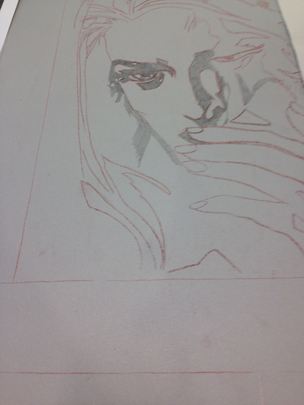 Drawing on an aluminum plate with a wax crayon.