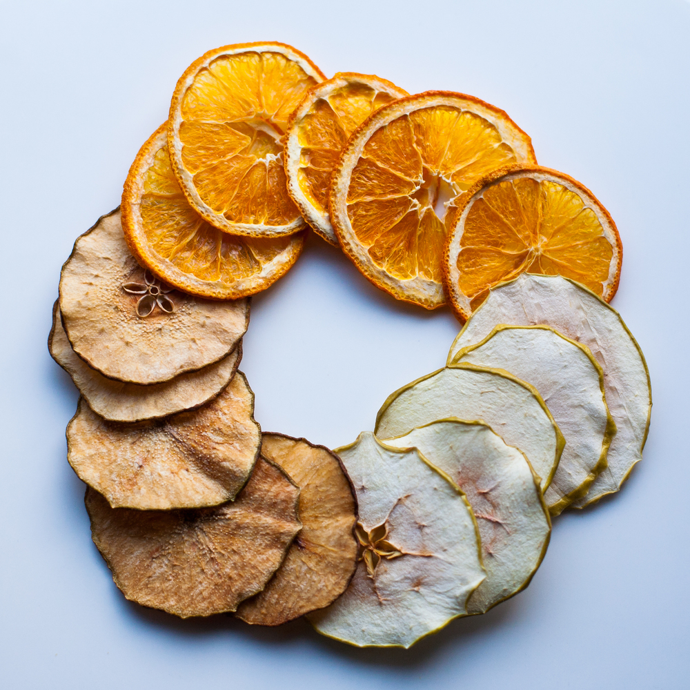 simple and crisp artisan crisps in pear, orange and apple