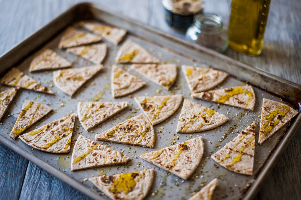 toasted flatbread with dukkah and smoked salt