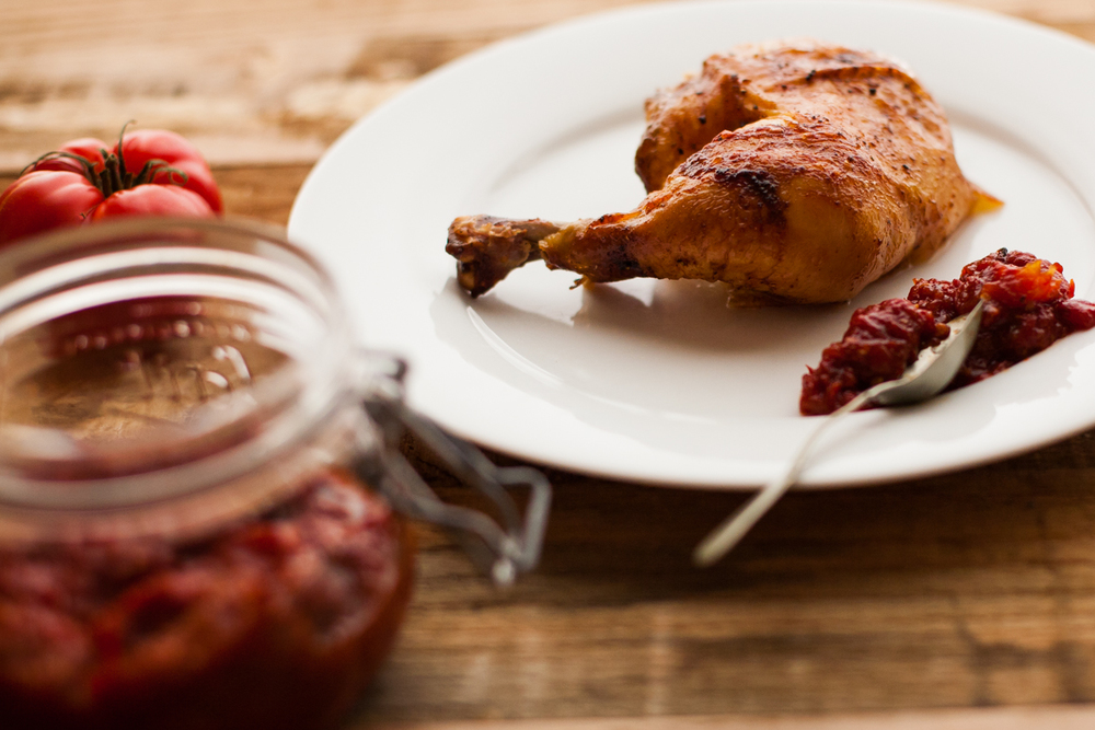 smoky tomato jam with roasted chicken