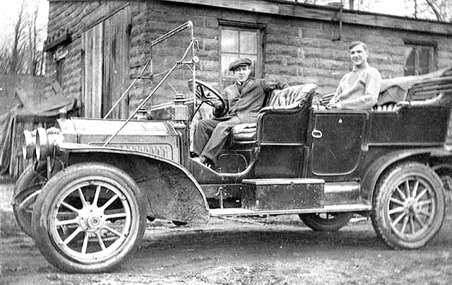 1915 Ed Schoch in the front seat of his car, Andrew Schoch residence Lowertown.jpg