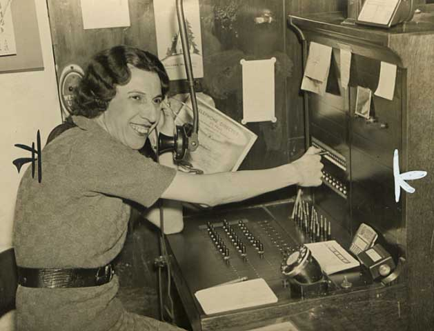 1936 Florence Keiper, switchboard operator at Scheffer & Rossum wholesale house Lowertown.jpg