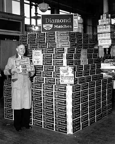1945 Diamond Matches display, Schoch Grocery, Seventh and Broadway Lowertown.jpg