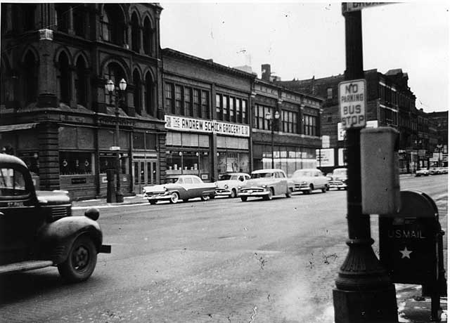 1957 Andrew Schoch Grocery Company, East Seventh Street between Broadway and Rosabel Lowertown.jpg