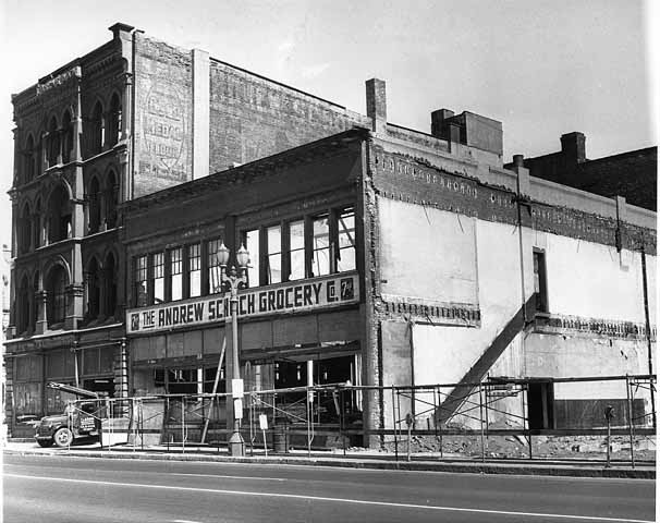 1959 Wrecking of Schoch Grocery, Seventh and Broadway Lowertown.jpg