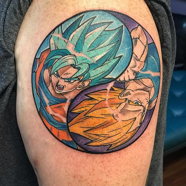 One of a few #dbztattoo I've been working on . • • • #artistsoninstagram #colortattoo #dragonball #fusion_ink #yingyangtattoo #anime #animetattoo #followforfollowback