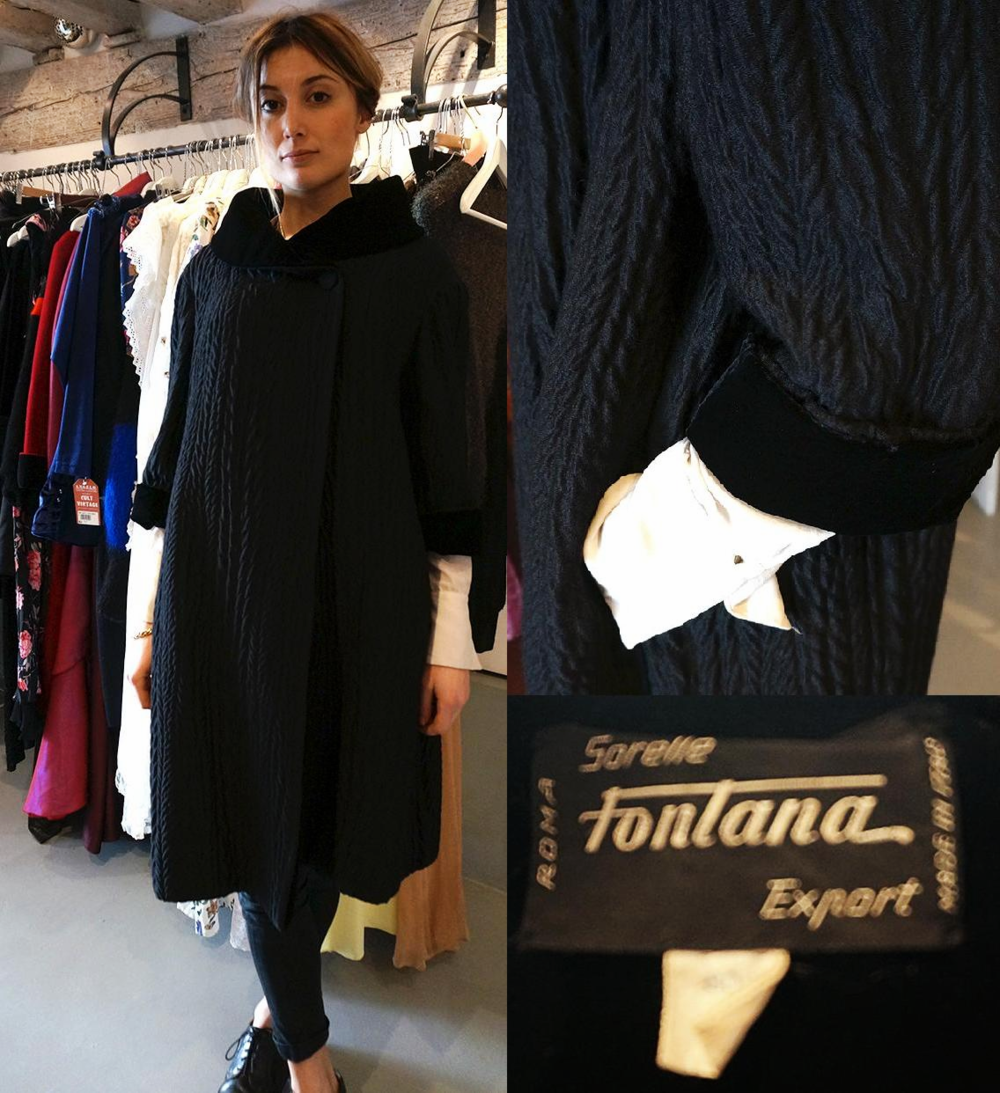 Dwustronny płaszcz legendarnej firmy Sorelle Fontana - najdroższa rzecz w butiku